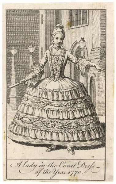 A lady in the Court Dress of the Year 1770 - her skirt must be more than a metre in diameter, resembling the farthingales of earlier periods