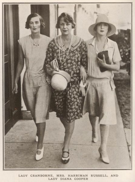 Lady Cranbourne, Mrs Harriman Russell and Lady Diana Cooper holidaying in Palm Beach, Florida