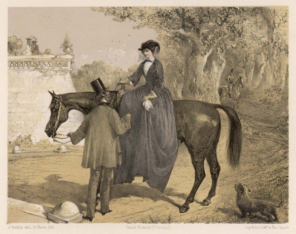 A lady in her riding habit is helped to dismount by a gentleman