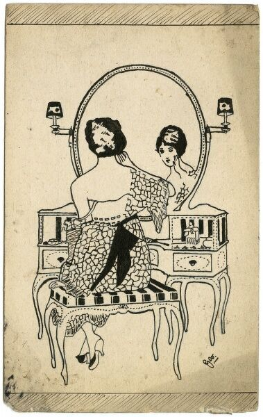 Lovely, decorative illustration by amateur, soldier artist of the Great War, George Ranstead, depicting a lady at her dressing table.  circa 1916