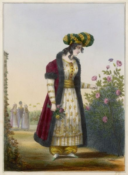 A Georgian lady of rank, picking roses