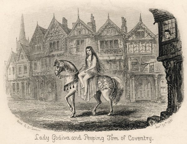 Lady Godiva rides her horse naked through the streets of Coventry while Peeping Tom looks