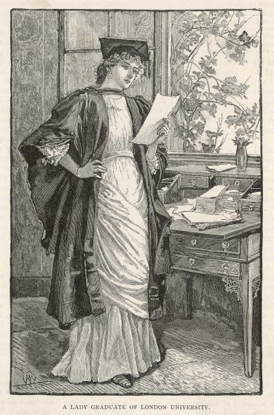 A lady graduate in her study at London University