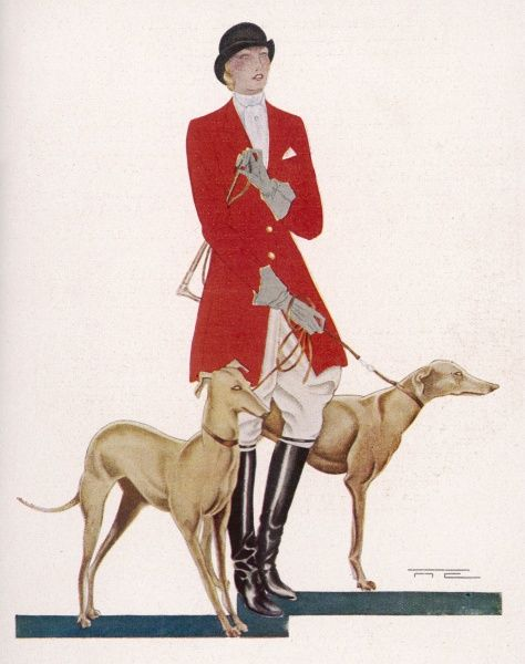 A lady in hunting costume stands with a pair of greyhounds