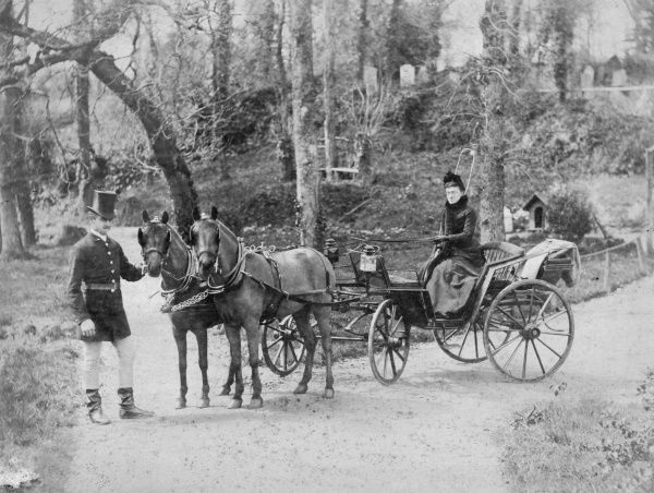 A rather stern-faced middle-aged lady holding the reins to a fine open lightweight carriage, while a gentleman in a silk top hat attends to the two ponies