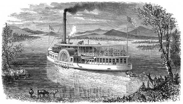 The paddle steamer 'Lady of the Lake' serves a number of popular New Hampshire resorts. Date: 1874