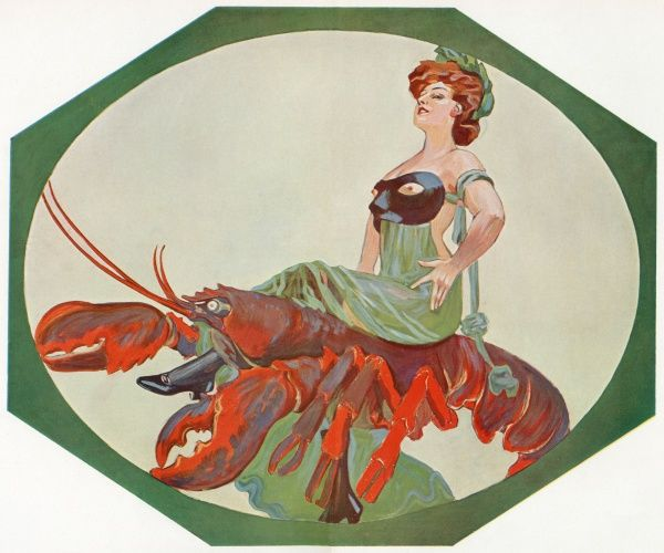 A woman in a green dress with a black mask across her bare chest rides a red lobster side saddle