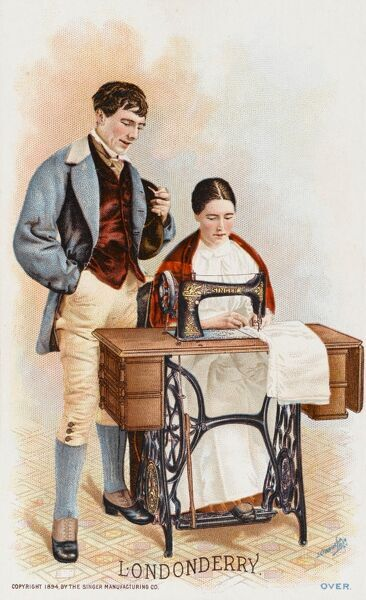 Lady from Londonderry, Northern Ireland using a Singer Sewing Machine