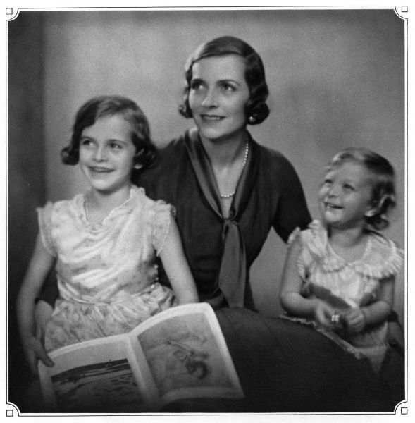 Lady Louis Mountbatten, Countess Mountbatten of Burma and Vicerine of India (1901 - 1960), formerly Edwina Ashley. Wife of Lord Louis Mountbatten pictured in The Sketch with her two daughters, Patricia (born 1924) - now Knatchbull, 2nd Countess Mountbatten