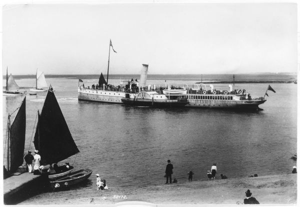 Paddle steamer leaving Fleetwood, on the Lancashire coast, for the Isle of Man