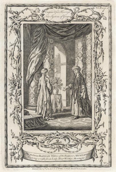 Lady Mary Wortley Montagu (1689 - 1762), Traveller in the East Meeting the Sultana Hafitan, widow of the Emperor Mustapha