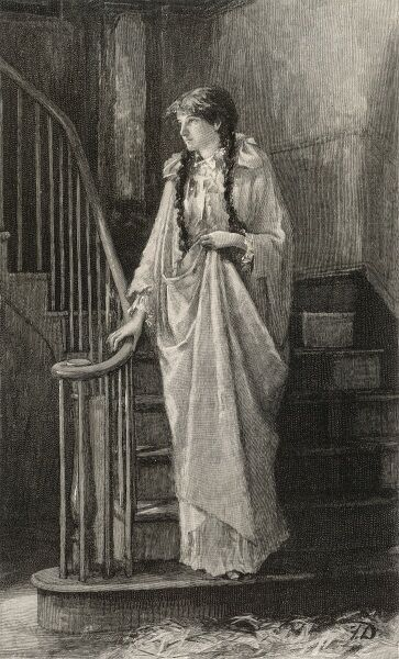 A young woman steals noiselessly down the stairway in her nightdress