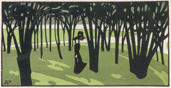A woman in a large black hat takes a walk through a park among black, bare trees