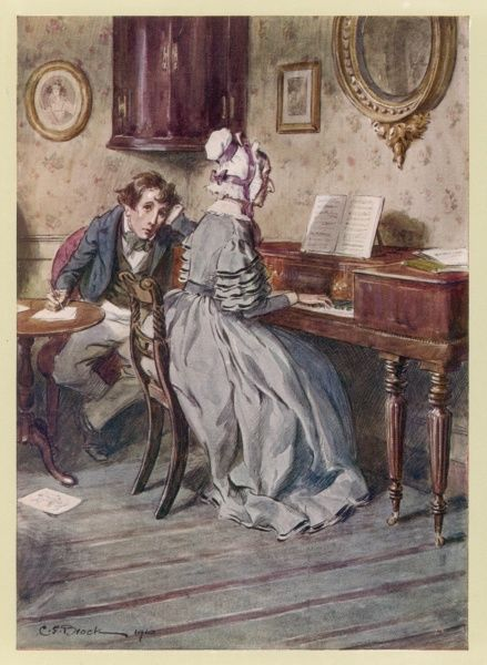 "An old lady plays the piano beautifully for an enthralled boy. (Thackeray's ""The Newcomes"")"