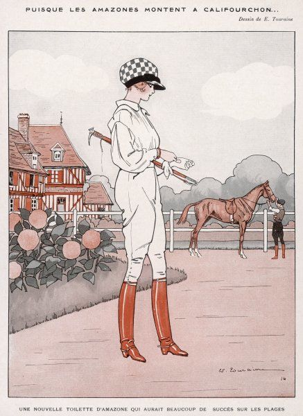 This young lady rider of advanced views is wearing breeches so that she can ride cross-saddle - still a very unusual thing for a lady to do