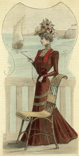 The dress this lady is wearing is described as 'toilette de plage, casino etc.' obviously just the thing for looking one's best among the holidaymakers and gamblers. Date: 1890