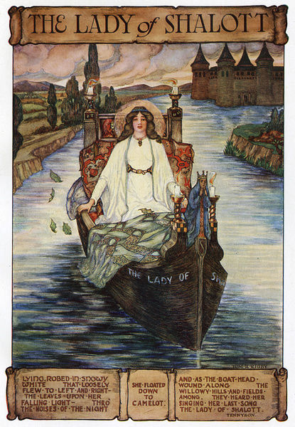 The Lady of Shalott setting out on her boat for Camelot ...