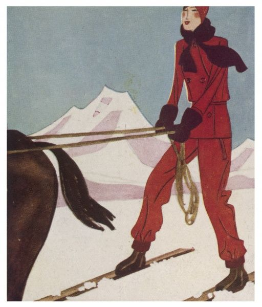 An elegant skier, in a red outfit, is towed by a horse