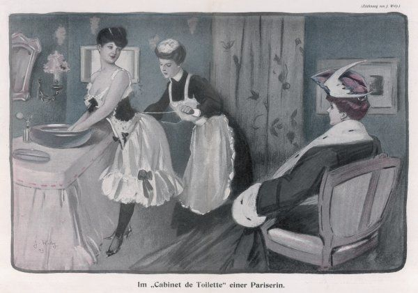 A ladies' maid tightens her mistress's corset who is busy washing her hands & chatting to a friend. Her chemise, with a flounce & ribbon bow trim, is clearly visible