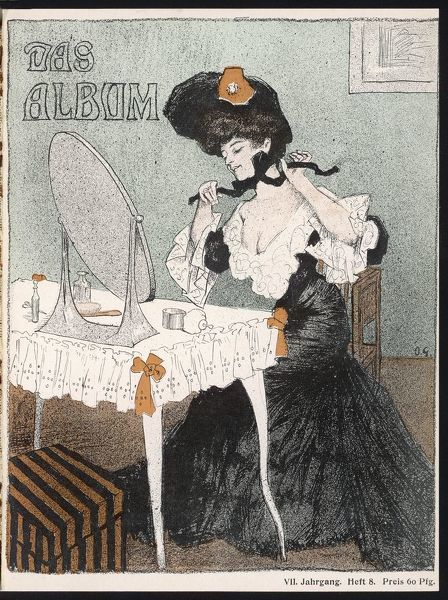 An impression of the lady of fashion: the S-bend silhouette is emphasized by bulky frills on the decollete bodice & the hip clinging skirt. She ties her hat on with a ribbon