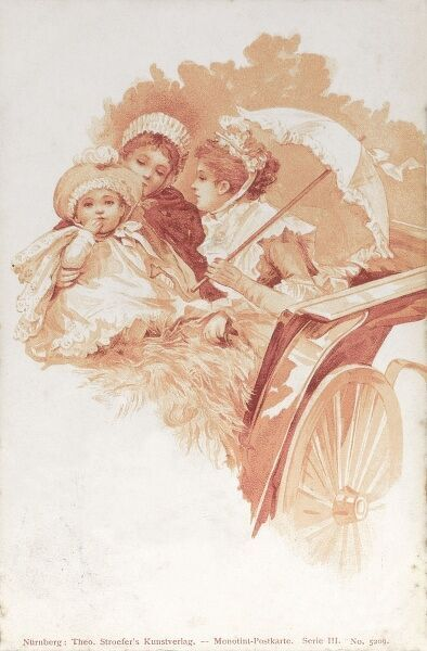 A German lady, her young daughter and nursemaid/nanny, taking a ride in an elegant carriage on a summers day. Date: 1903