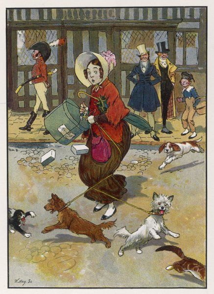 A lady crossing a street with an armful of parcels gets into difficulties when her two dogs each decide to chase a cat - and another dog comes to share the fun