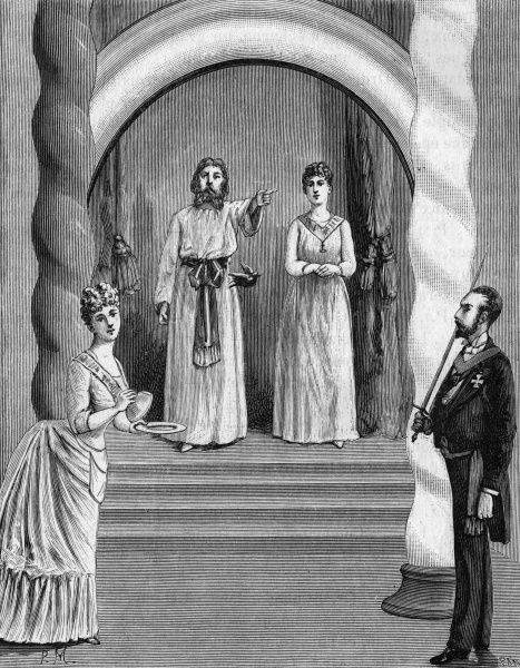 Initiation ceremony for the 'Perfect Mistress' also known as the 'Bird of Mystery'. Date: 1890s