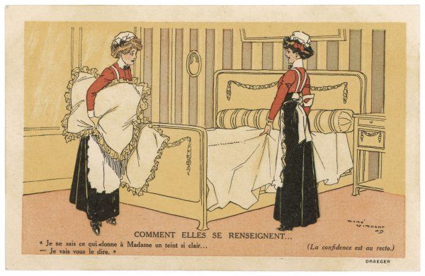 Two maidservants make their mistress's bed with bolster and pillows