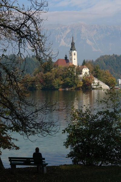 View of Lake Bled with the Pilgrimage Church of the Assumption of Mary, near the town of Bled in north west Slovenia