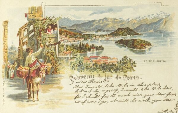 Lake Como, Italy. In an inset illustration, a young boy sitting sidesaddle on a donkey offers an orange from one of the panniers on the animal;s flanks, to the object of his affections, a young girl on a balcony. Date: circa 1899
