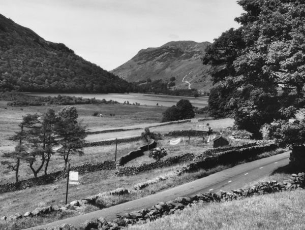 View over Patterdale, with Lingy Crag woods in the background