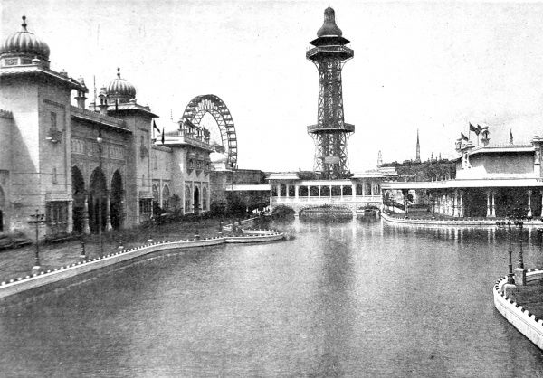 Photograph showing the lake and assorted buildings at the Earl's Court Exhibition of 1898. The lake was surrounded by thousands of pearl and amber-coloured lights