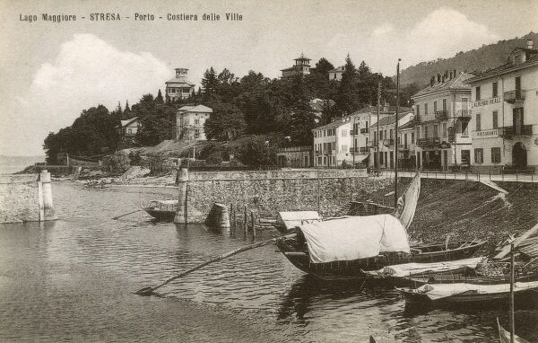Lake Maggiore, Italy - Stresa - Entrance to the Port and Coastal Villas Date: circa 1910s