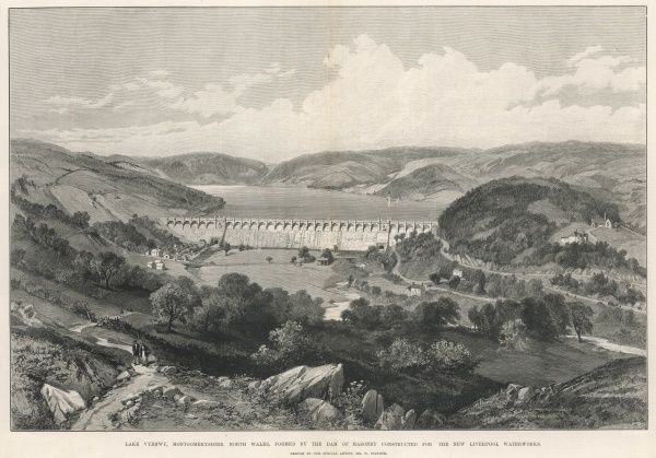 Lake Vyrnwy, Montgomeryshire, North Wales, formed by the dam of masonry constructed for the new Liverpool Waterworks