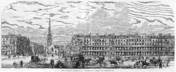 Engraving showing a street scene in Lancaster Gate, Hyde Park, London, 1866. The houses on the right were built by John Kelk between 1863-7