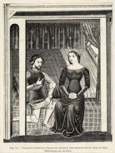 Sir Lancelot kneels before Queen Guinevere in her chamber