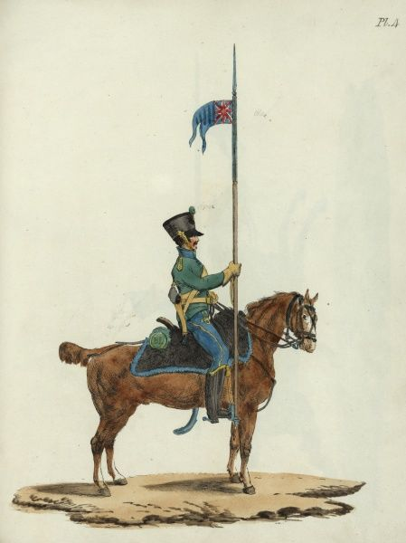 The proposed uniform and equipment for a new corps of lancers in the British Army. Seen here is a side view of a mounted lancer holding his lance in his right hand. 1813