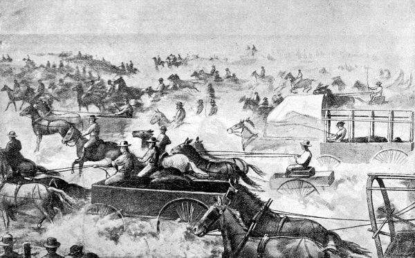 Horses and wagons of all sorts take the participants in the land-rush to stake a claim for their plot. The land on which Arkansas City was to be built had belonged to the Cherokees until they were forced off it