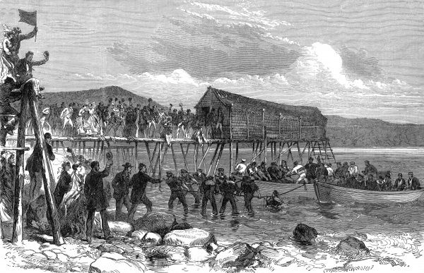 Engraving showing the landing of the Atlantic cable in Heart's Content Bay, Newfoundland in 1866. This was
