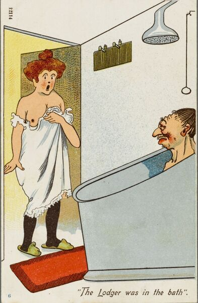 The Lodger was in the bath. A landlady receives a nasty surprise as she comes across the 'lodger' taking a bath