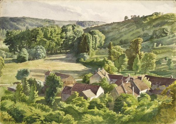 A verdant green countryside view of a farm nestled into a lush English valley in the evening light. Watercolour painting by Raymond Sheppard