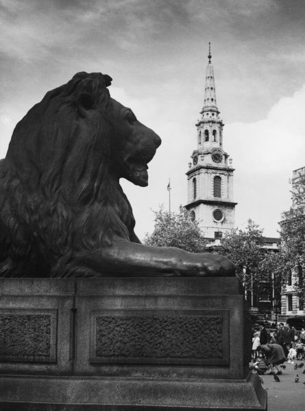 One of the four bronze lions, on granite plinths, sculpted by Sir Edwin Landseer, and cast by Marocchetti. They were unveiled in 1868. St-Martin- in-the-Fields church is behind