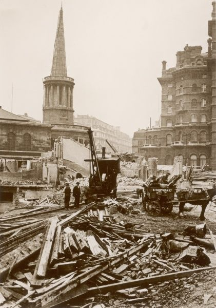 All Souls Church and the building site in Langham Place where buildings were demolished to make way for the building of Broadcasting House, London, England