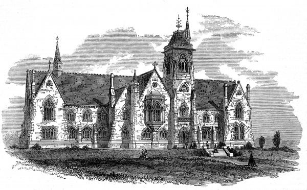 Engraving of Lansdowne College, Bath, which had been purchased in 1864 for about 3000 pounds to provide a School for Daughters of Officers in the British Army&quot