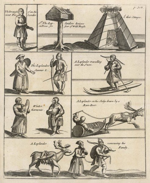 Lapps in Lapland during daily life with reindeer living and working in 1650
