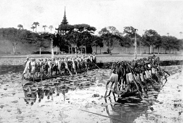 Photograph of two Burmese canoes, each with at least twenty rowers, 1910. Each rower balanced on the inside foot, with the outside one slipped through a strap on the oar; thus they used an arm and a leg to work each oar