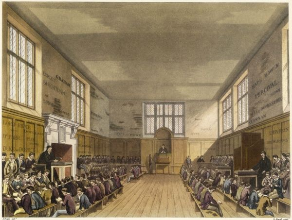 A large classroom at Harrow School with several classes held at once