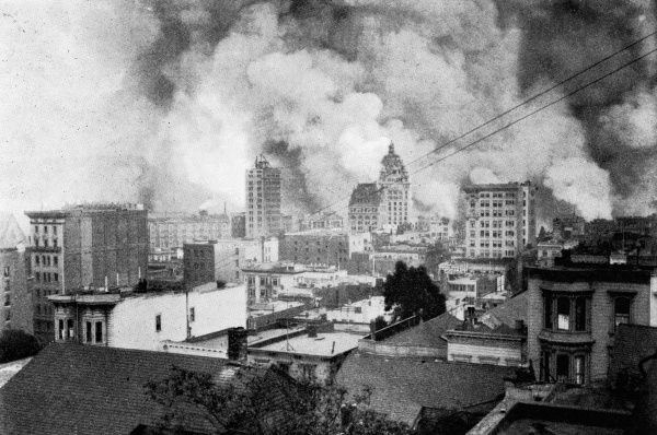 Fires spreading through San Francisco, completing the ruin of the city. The business distract was completely devastated, with only the steel structures of modern buildings still standing. The San Francisco earthquake, measuring 7.9 on the Richter scale