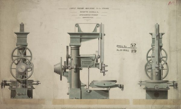 Large paring machine 2ft 6 in stroke, front, back and side elevations Date: 1849