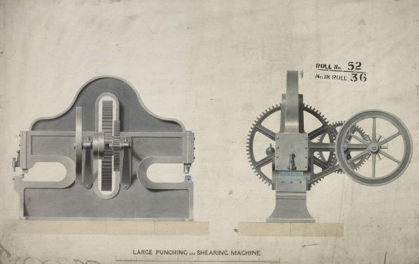 Large punching and shearing machine, front and side elevations Date: 1853